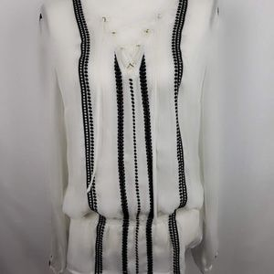 Cache Off White Blouse with Black Lace Trim